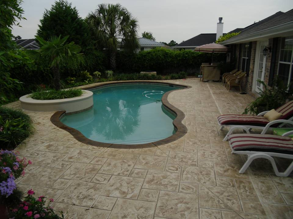 Stamped concrete nh ma me decorative patio pool deck for In ground pool coping ideas