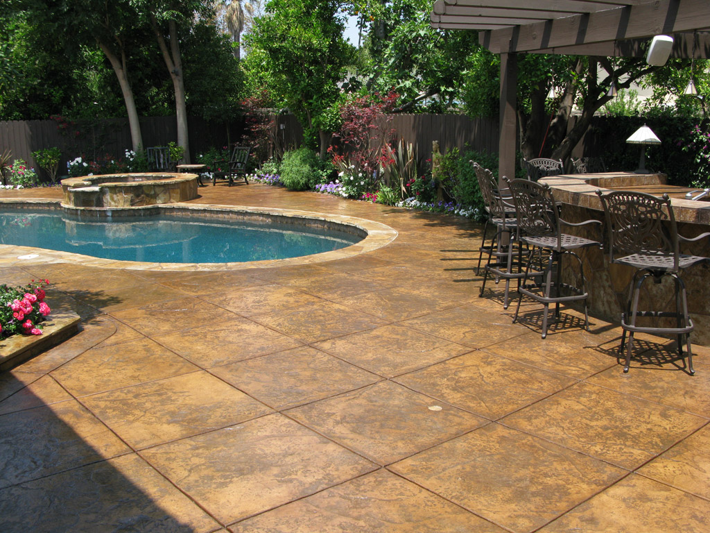 Pool Decking Ideas Concrete Custom Stamped Concrete Deck Complements The  Colors Of The House Design Betz  Concrete Pool Designs